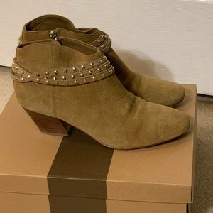 Short suede camel color studded ankle booties 7.5